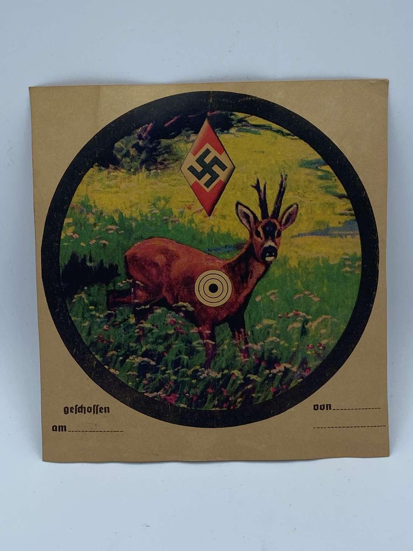 WW2 German Hitler Youth Pistol Training Target Of A Deer