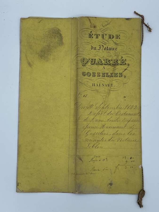 Victorian Belguim 1842 Notary Testament To Lady Amelie De Passé