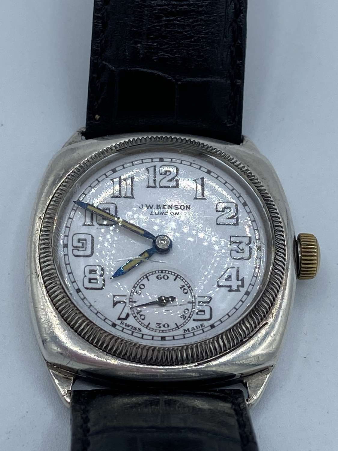 1928 Dated British Royal Navy Contract 925 Silver Watch J W Benson