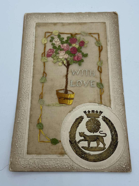 WW1 Regiment Yorkshire & Lancashire Silk Regiment Postcard