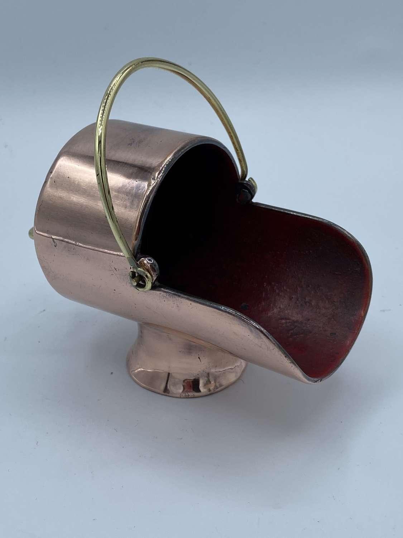 Victorian Antique Copper And Brass Coal Scuttle