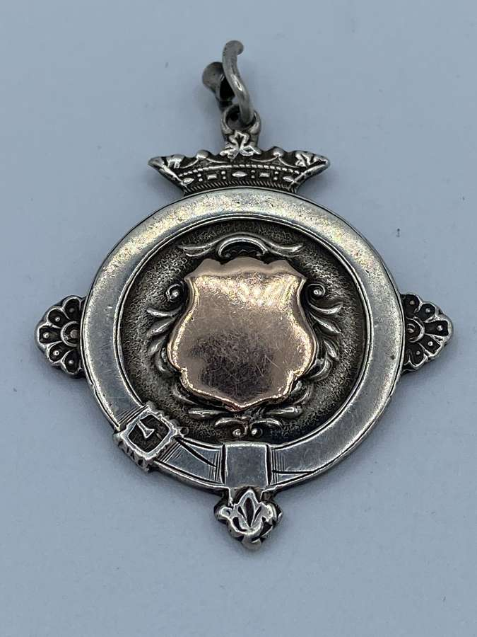 Antique Solid Silver & Rose Gold Centre Medal 1924 Dated London Maker