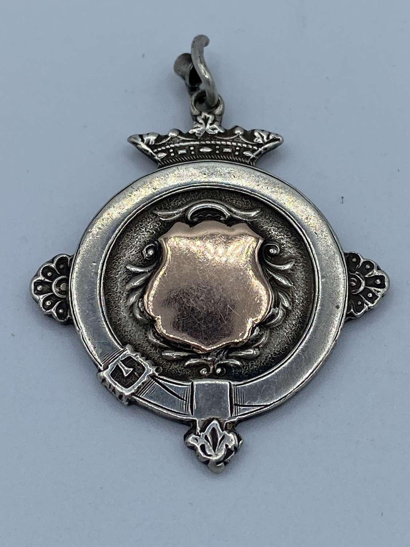 Antique Solid Silver & Rose Gold Centre Medal 1924 Dated London Maker