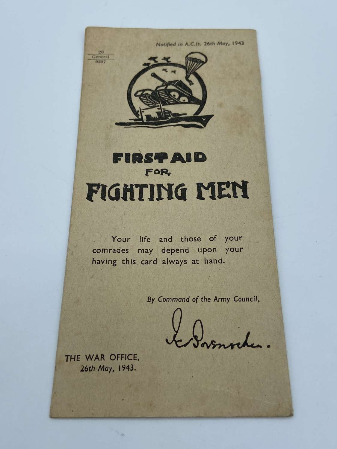 WW2 26th May 1943 British Army First Aid For Fighting Men Pamphlet