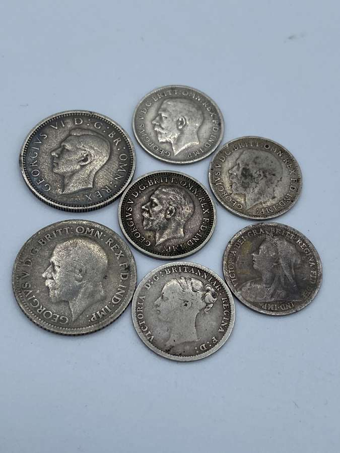 Group Of Seven Silver Seven Pences Queen Victoria & King Edward I