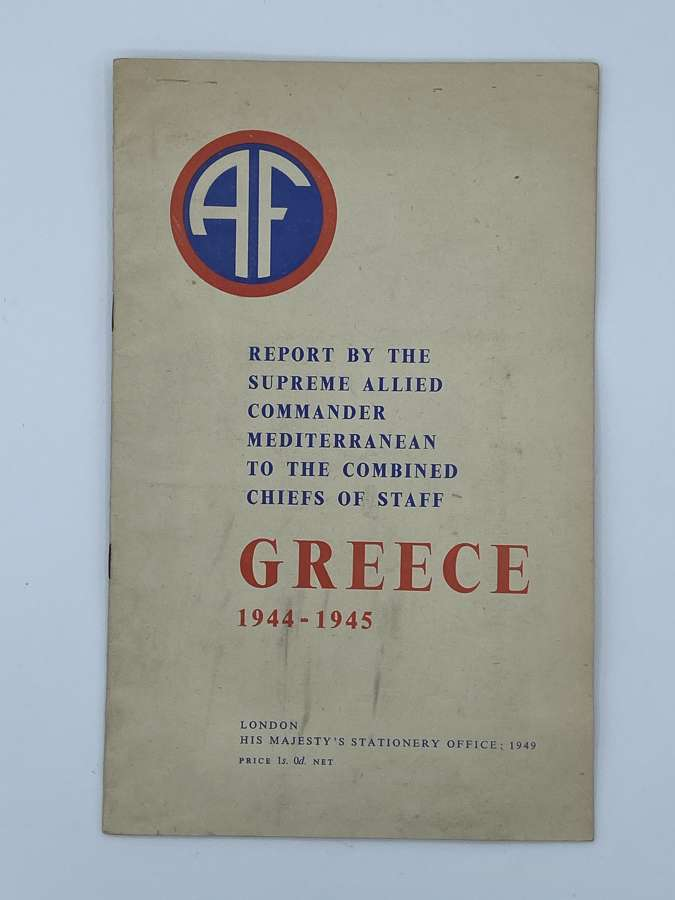 WW2 1944-45 Greece Report By supreme Allied Commander Mediterranean