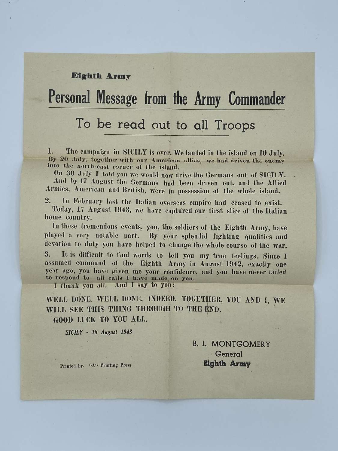 WW2 Sicily 8th Army Personal By Army General Montgomery Poster