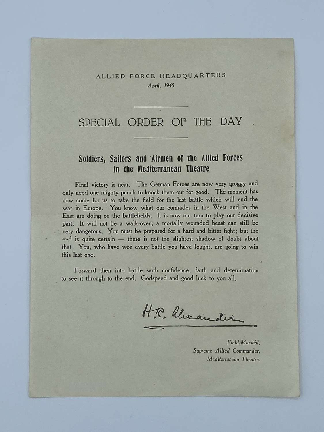 WW2 April 1945 Allied Force Headquarters Special Orders Of The Day