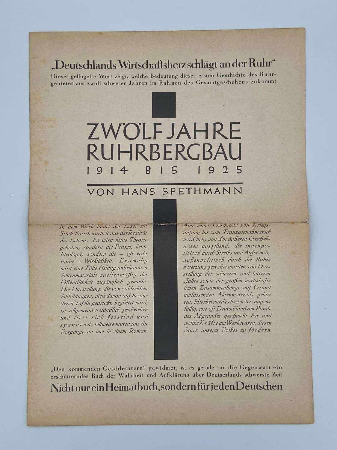 WW2 German Leaflet Campaigning Against Occupation Of The Ruhr 1923-25