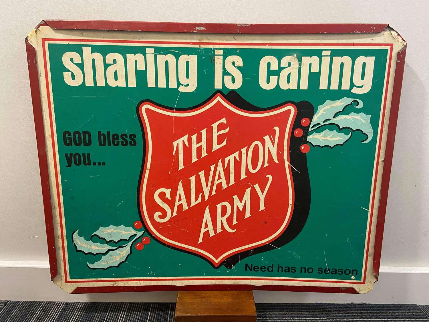 Vintage Era United States 'Sharing Is Caring' Salvation Army Sign