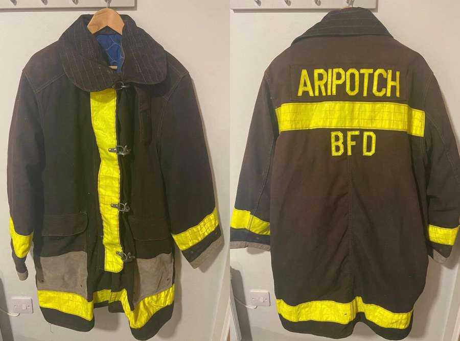 1989 Large Babylon Fire Department BFD Aripotch Turn Out Coat Jacket