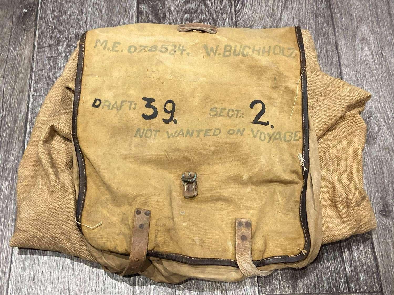 Rare Converted WW2 German Prisoner Of War Backpack & Duffel Bag