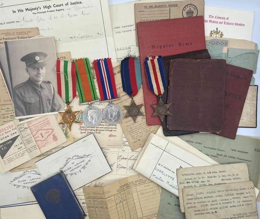 WW2 Medal & Paperwork Group To Lohr Henry RASC