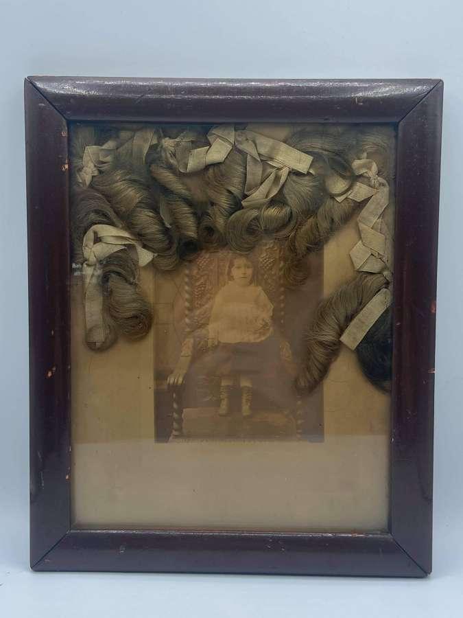 Antique Child Girl Post Mortem Photograph & Locks Of Hair In Frame
