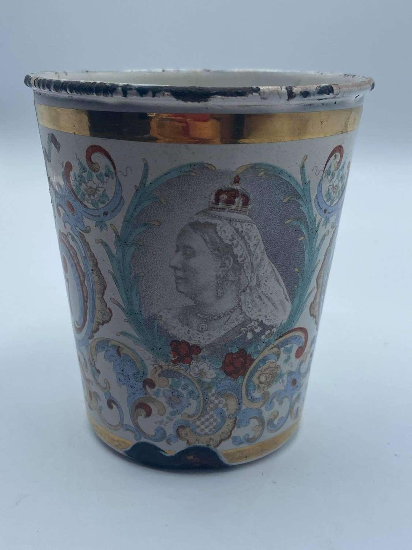 Antique 1837 To 1897 Queen Victoria Diamond Jubilee Enamel Cup