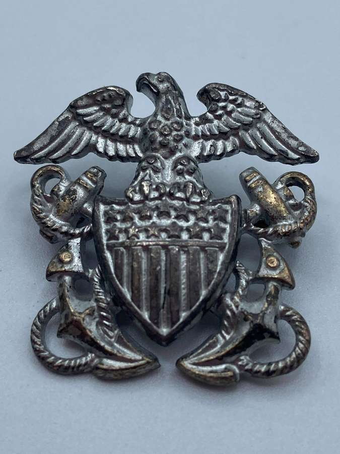 WW2 USN US Navy Sterling Officers Badge Maker Marked Amico