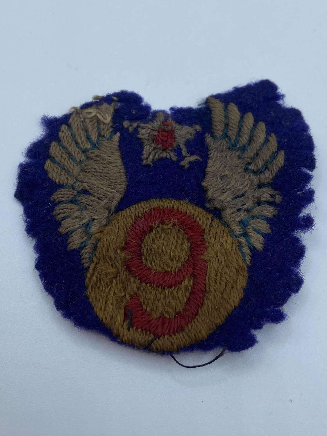 WW2 USAF 9th Air Force Theatre Made Wool Hand Stitched Patch