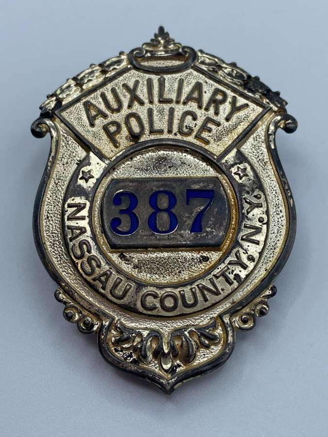 1940s Sterling Auxiliary Police Nassau County New York Badge No 387