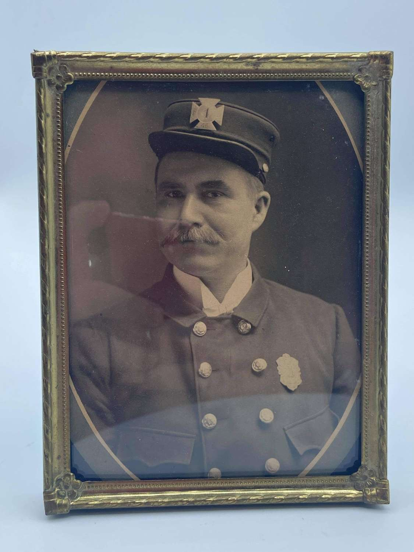 Original Victorian 1850s US New York Fire Cheif CDV Photograph Framed