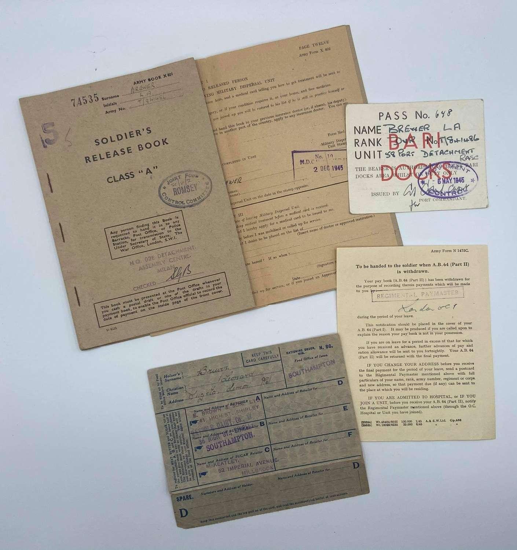WW2 Dvr Leonard Brewer RASC Bari Docks Italy Paperwork Lot