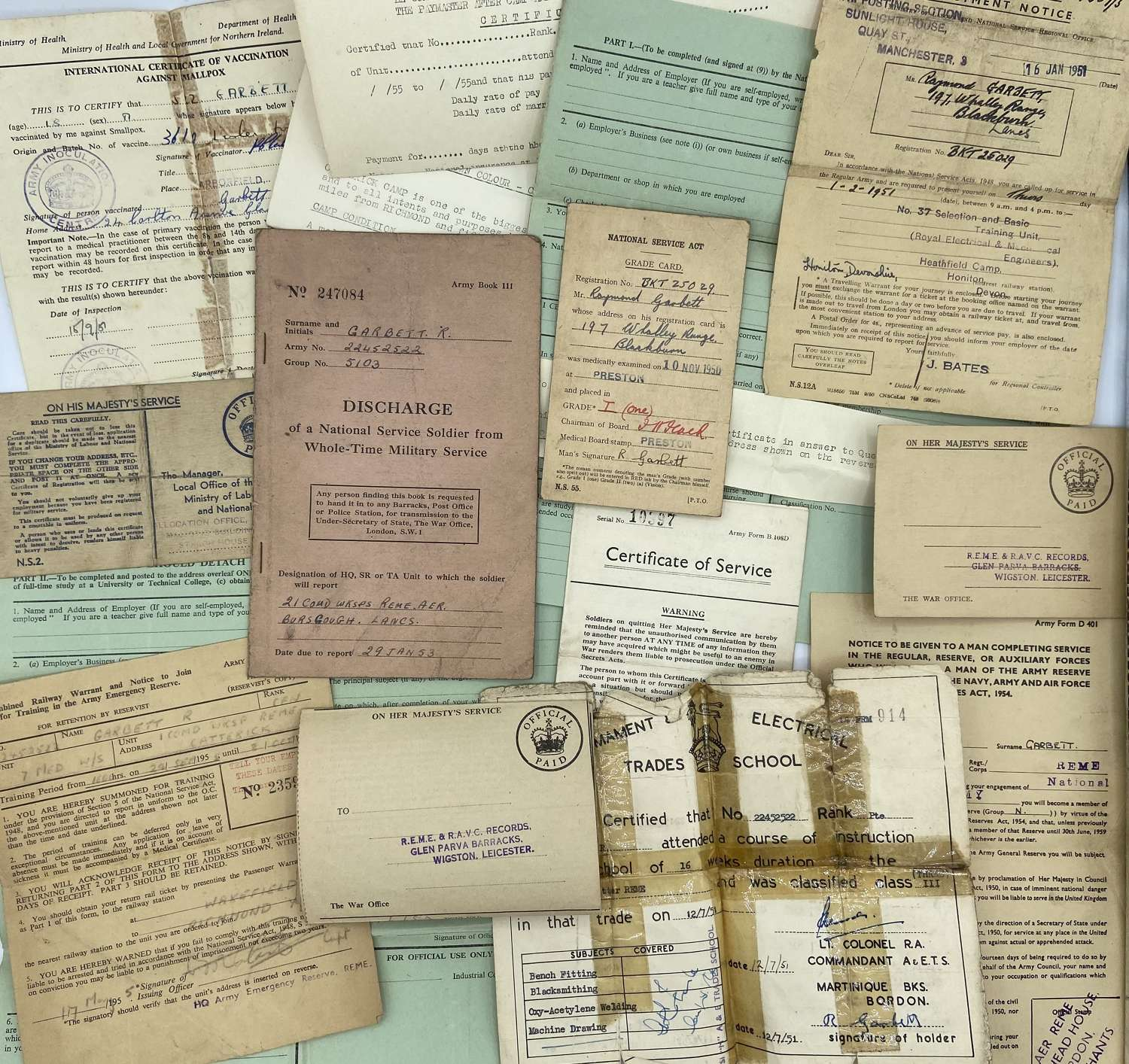 Post WW2 National Service Paperwork Group To CFN Raymond Garbett REME
