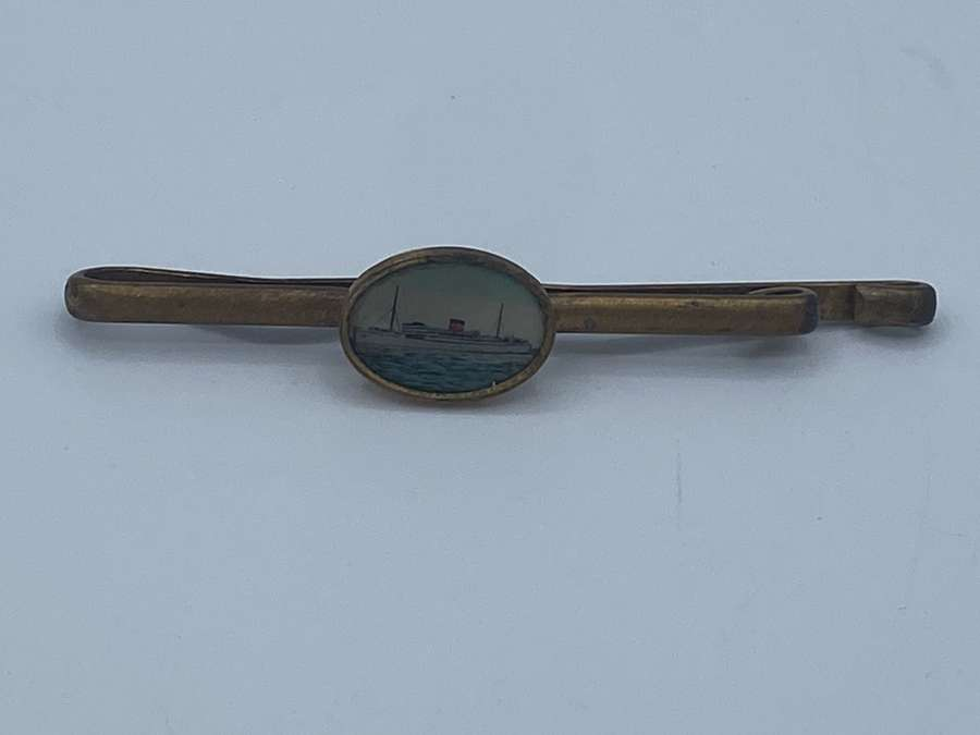 Antique 1920s Red Funnel Cunard Steamer Cruise Ship Tie Pin