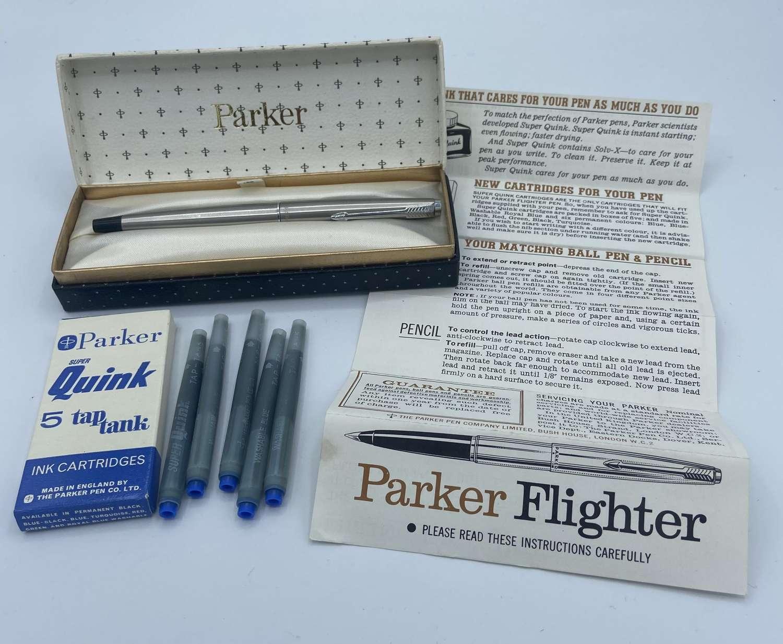 Vintage Parker 45 Flighter With Box, Instructions, Filler & Cartridges