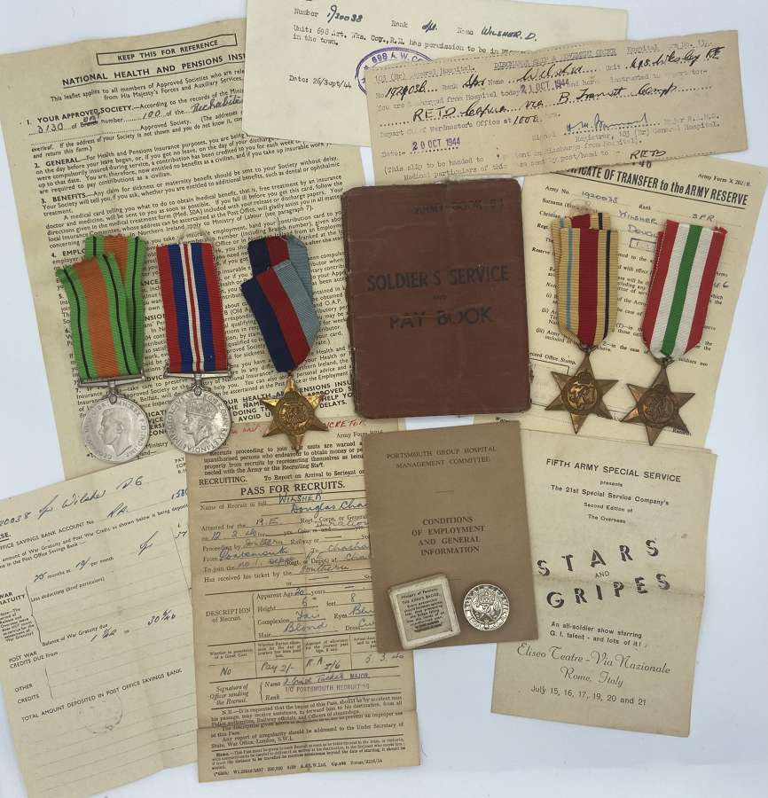 WW2 Medal Group To D C Wilsher RE 1st Army Africa Wounded Italy 1944