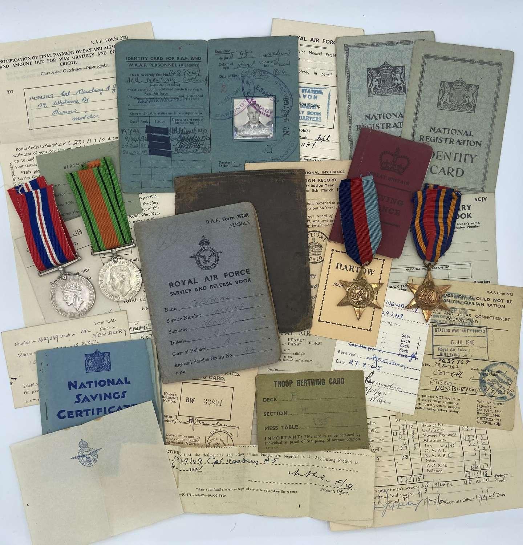 WW2 RAF Burma Medal Group & Rare Docs Cpl A J Newbury