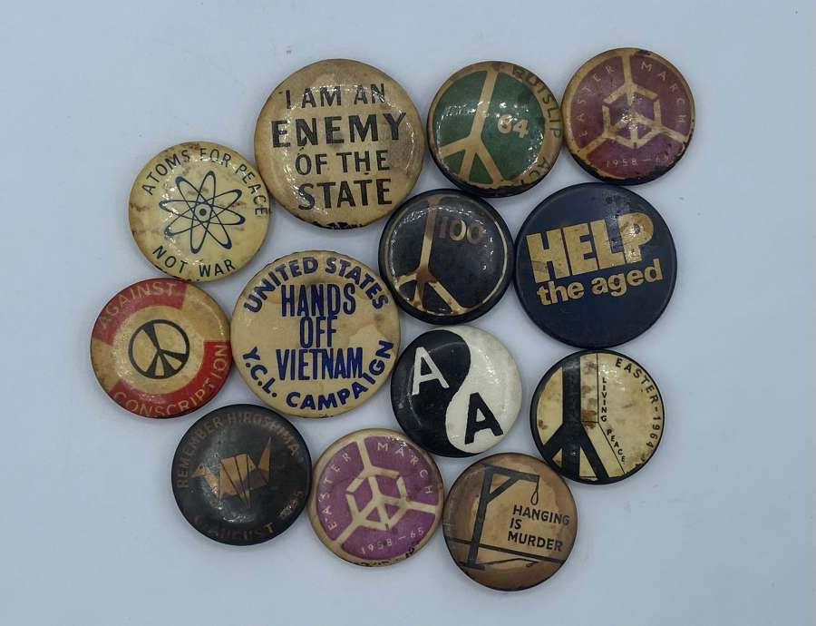 Collection Of 1950s To 1970s Political Campaign Protest Badges