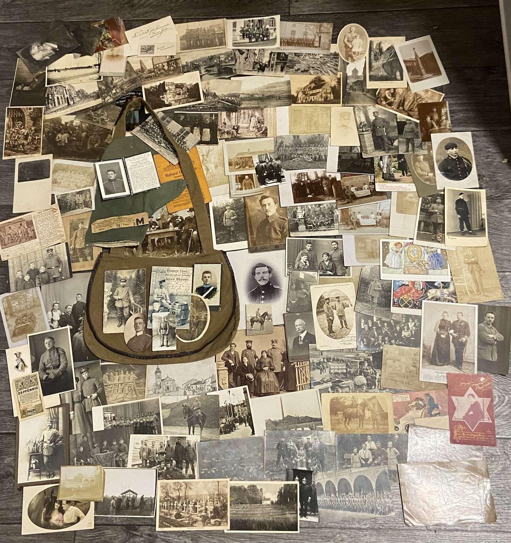 Large Collection Of WW1 German Military Photos, Postcards & Breadbag