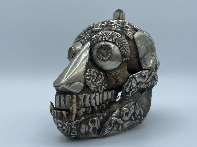 Antique 19th Century Tibetan Buddhist Kapala Tantric Offering Skull