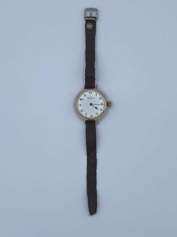 WW1 US Army Officers 1916 9ct Gold Working Trench Wrist Watch Waltham