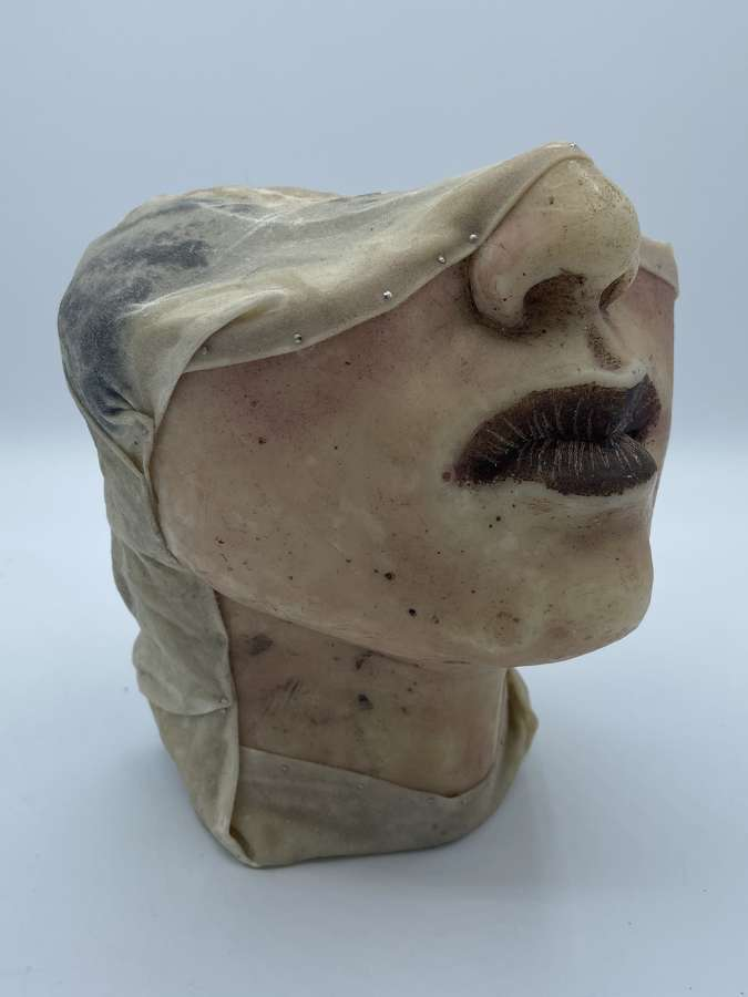 Antique 1890s Wax Medical Moulage Death Mask Swollen Face Section
