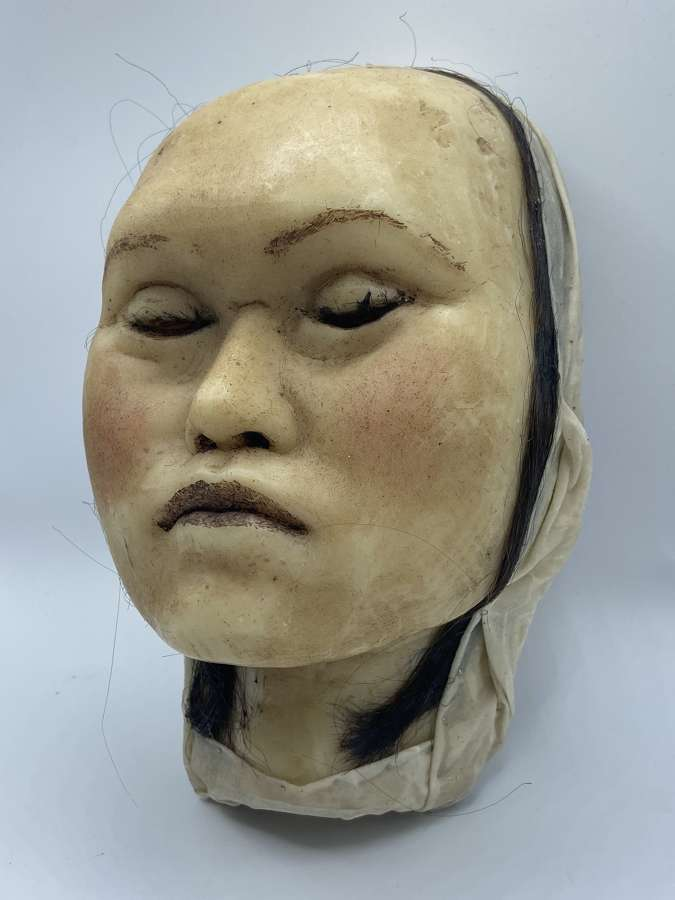 Large Antique 1890s Wax Moulage Death Mask Middle Aged Femal