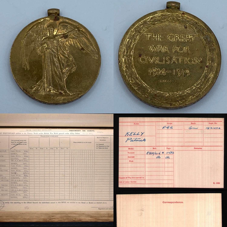 WW1 Victory Medal 192402 Gnr P Kelly Base DTLS Royal Garrison Artilery