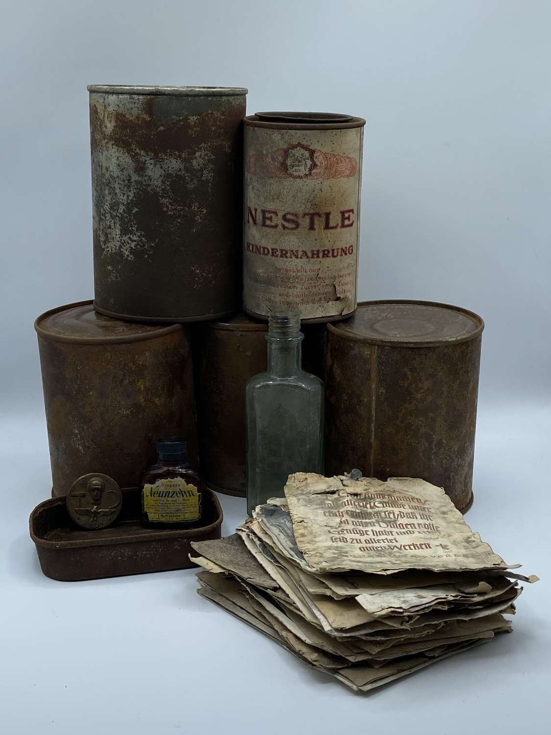 WW2 German Unopened Rations & Paperwork 850g Meat Rations To A Pastor