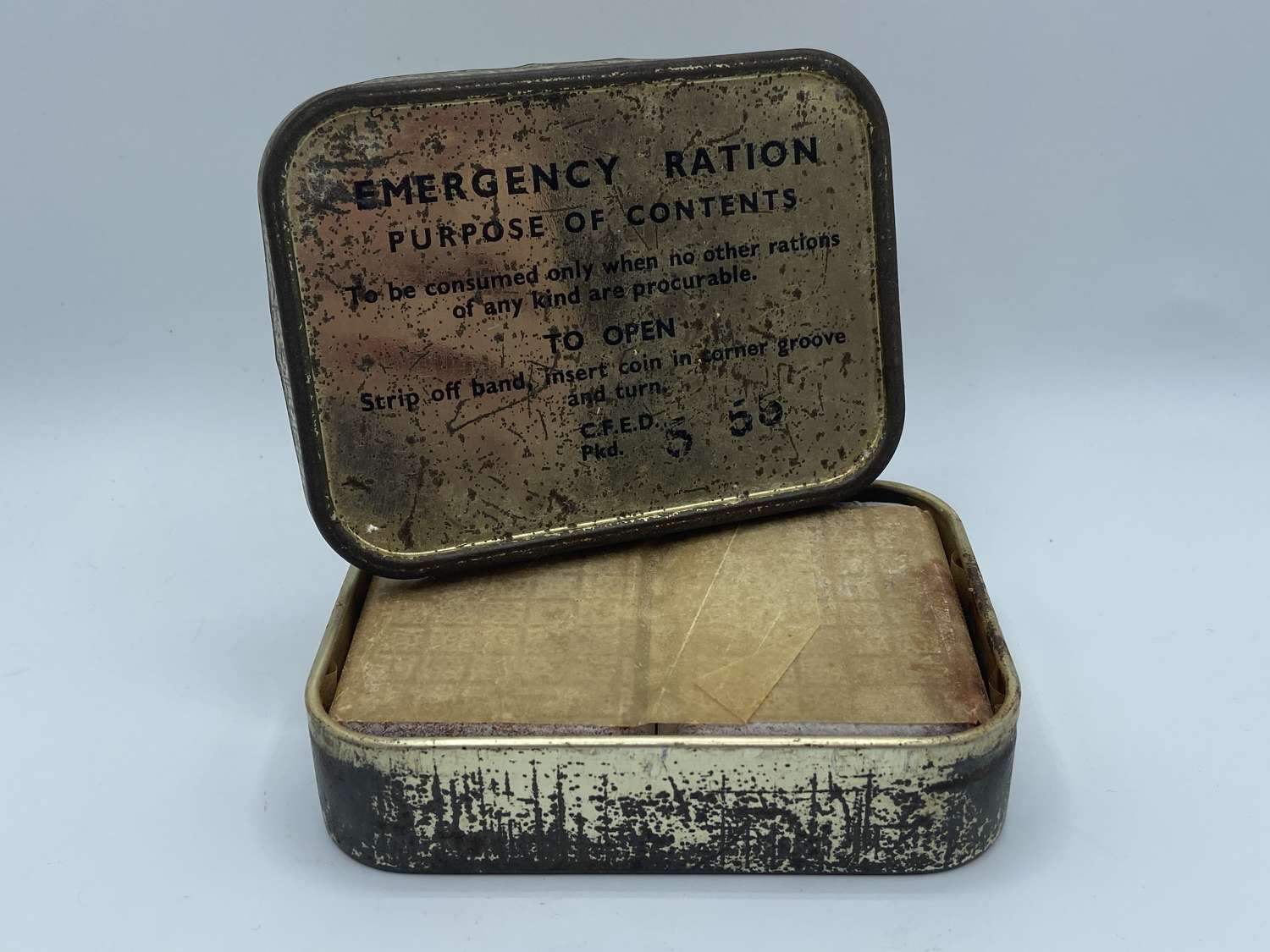 1955 Dated British Army Emergency Ration & Contents Cyprus Emergency