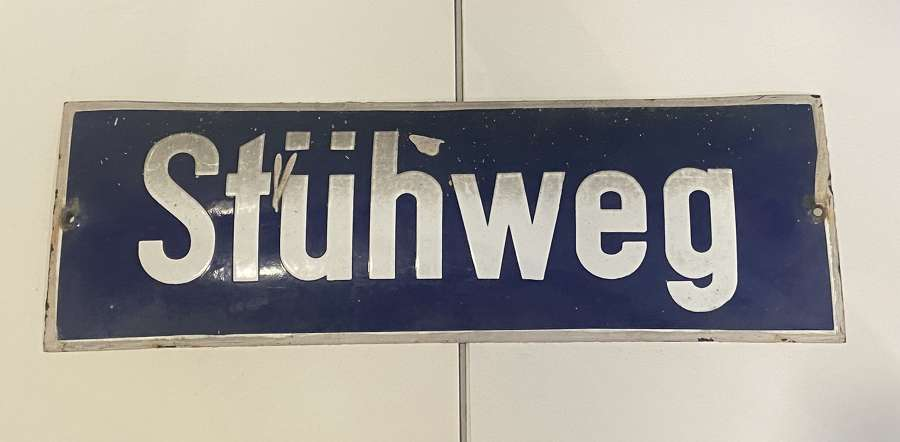 Original 1930s WW2 German Steel & Enamel Blue & White Stühweg Sign