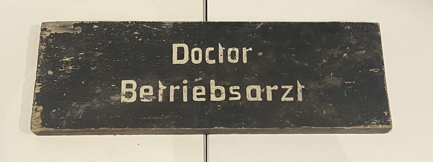 WW2 German Wehmacht Field Hospital Wooden Sign To A Company Doctor