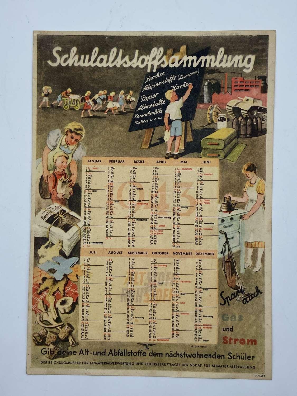 WW2 German Homefront 1943 Dated Calendar War & Home Life