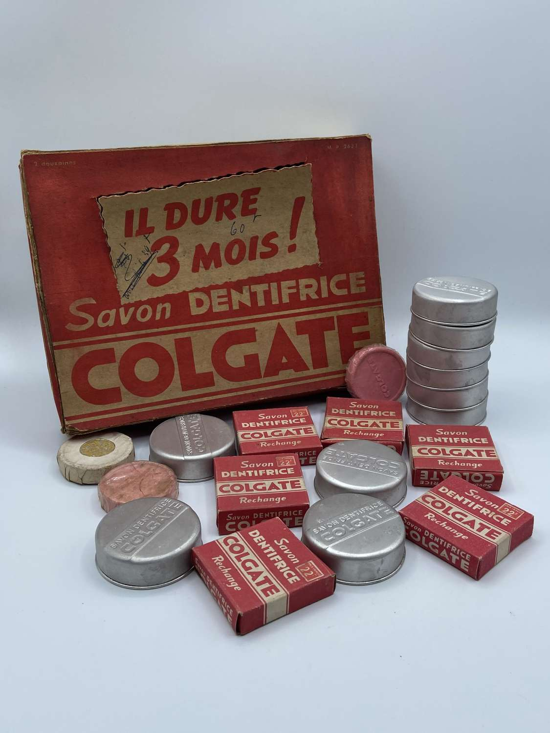 WW2 French Colgate Palmolive Toothpaste Soap Advertising Box & Content
