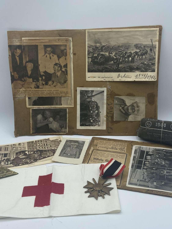 WW2 German Medic Grouping Photos Armband Medal Etc 1MGK Landw-1-R85