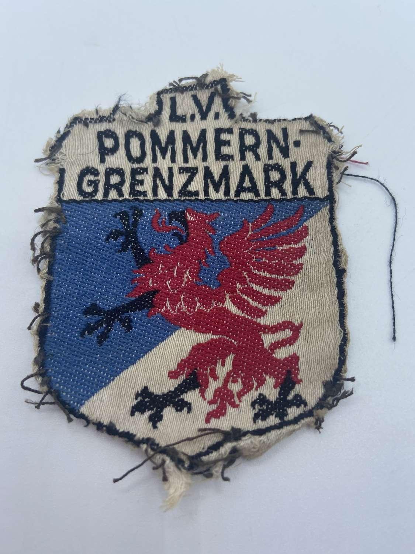 WW1 German Freikorps Sleeve Patch Lv Pommern Grenzmark 1919 Stahlhelm