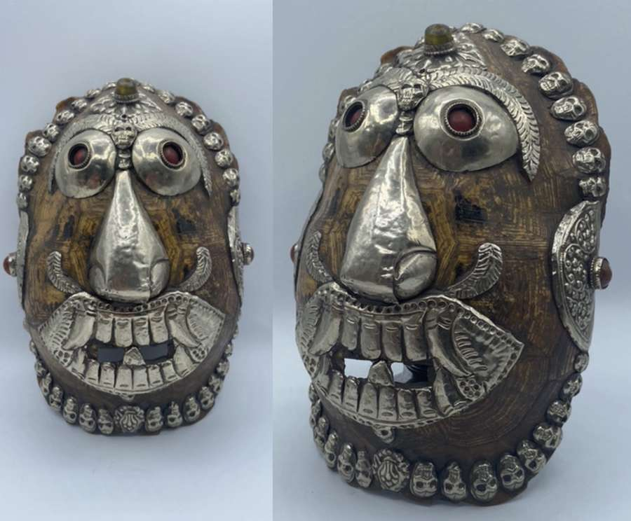 Original Antique 1880s Tibetan Kapala Silver Mounted Offering Mask