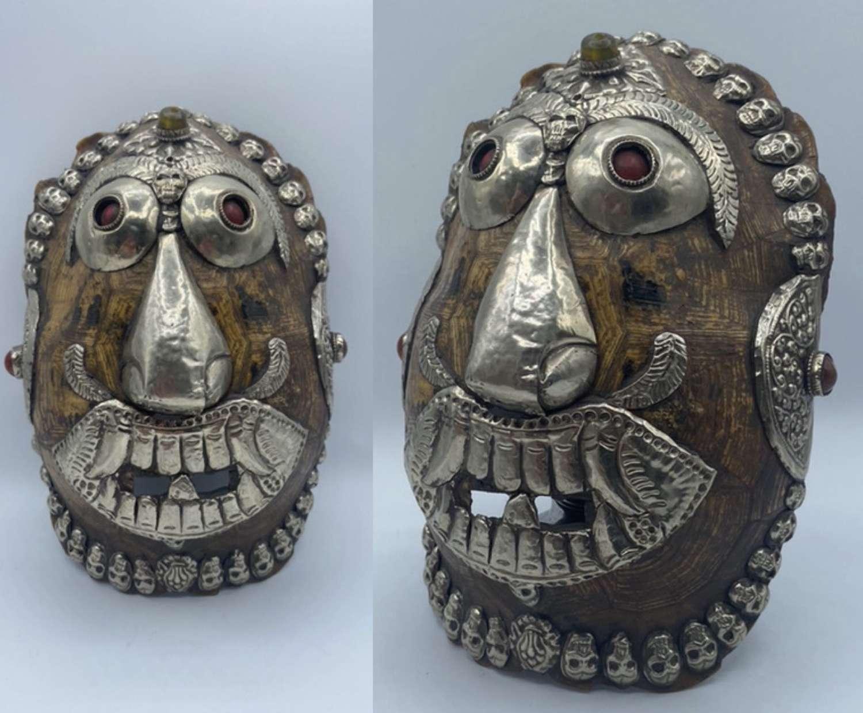 Original Antique 1880s Tibetan Kapala Silver Mounted Offering Mask