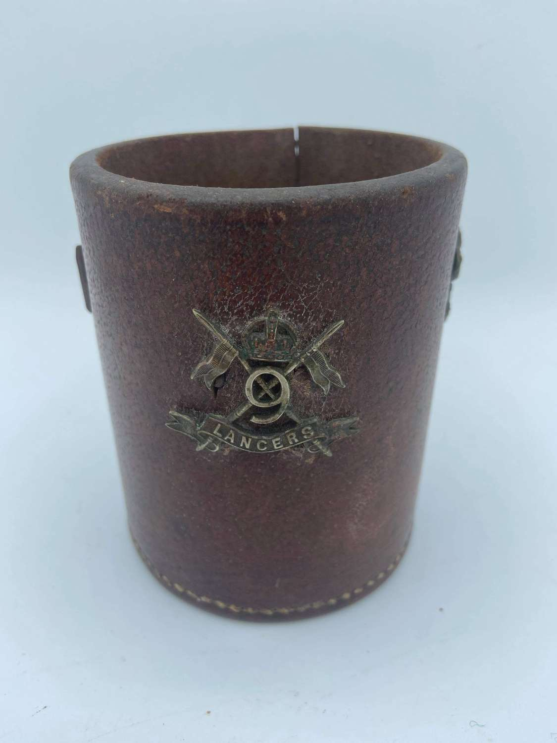 WW1 Leather British Army Trench Art Pencil Pot Wiltshire Reg etc