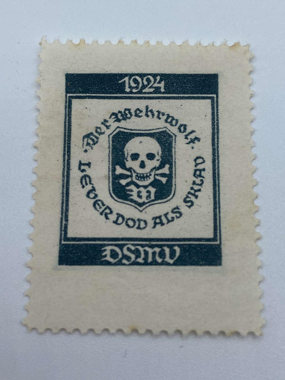 1924 German Der Wehrwolf DSMV Skull & Cross Bones Large Stamp