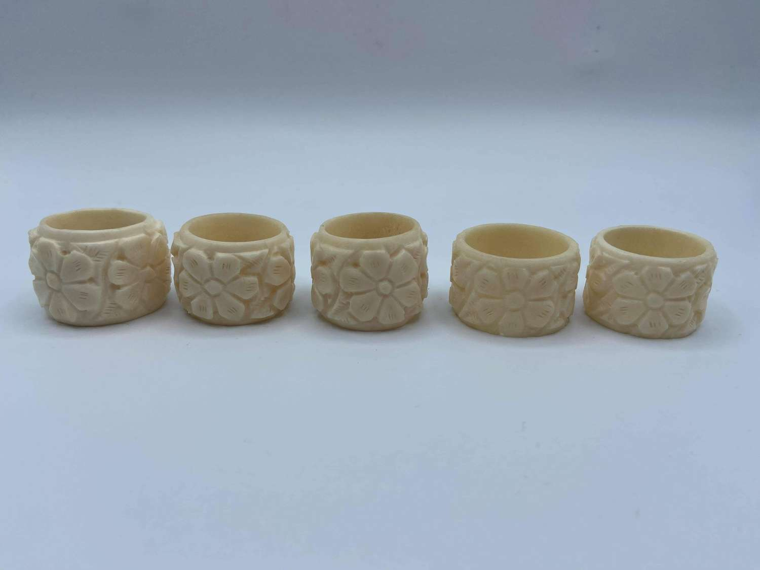 Antique Art Nouveau Floral Carved Cow Bone Nspkin Rings Set Of 5