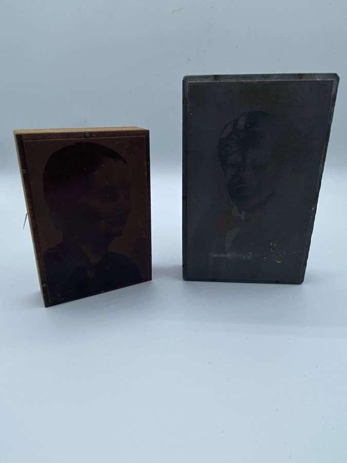 Antique Pair Of Copper Portrait Negative Printing Photo Plate